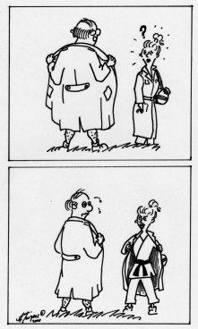Eine Karikatur über einen Exhibitionisten und einer Karate Frau