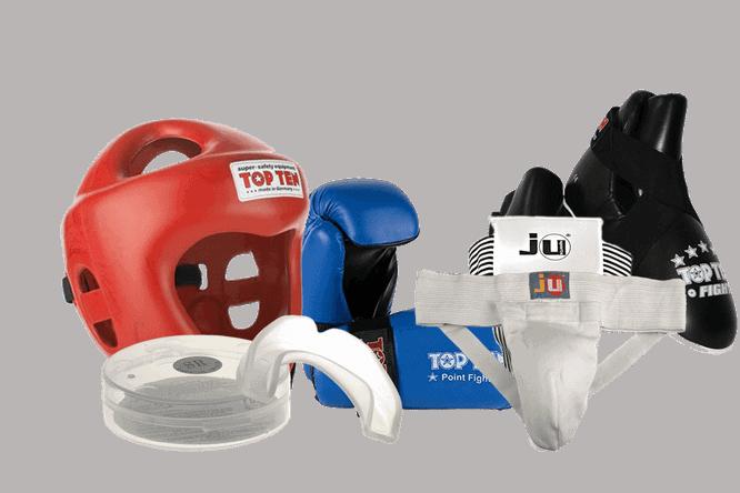 Komplette Ausrüstung für Kickboxer