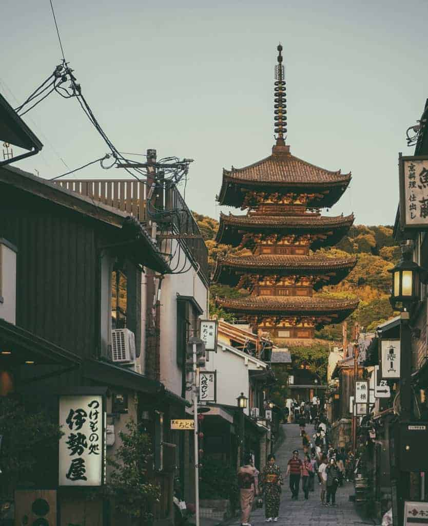 japanisches Dorf mit Tempel