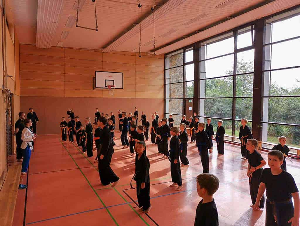 Karateka stehen in Formation